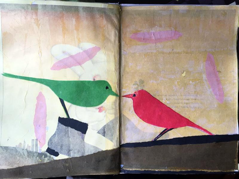 A sombra, libro de artista.  Técnica: collage.  Soporte: libro rescatado do lixo.  Tamaño: 31x22cm.