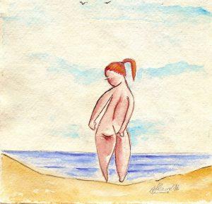 La fille de la pensée | Acuarela | Tamaño: 15x15cm | Prezo: 105€