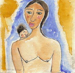 Maternité | Acuarela| Tamaño: 15x15cm | Prezo: 105€