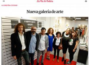 Artigo da Vos de Galicia. Inaugurando a expo colectiva na galería SPAZO, con Roke Armas, Dani Agra, Carlos Botana, María Cajaraville e Raquel Currás.