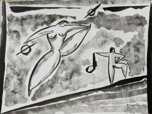 Baile popular.Flairas. Tinta chinesa sobre papel 300gr. 21x29 cm.😁