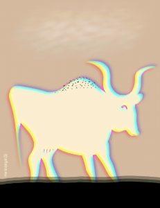Vacas brancas, o primero relato e a primeira ilustración do libro: As costas do Alén.